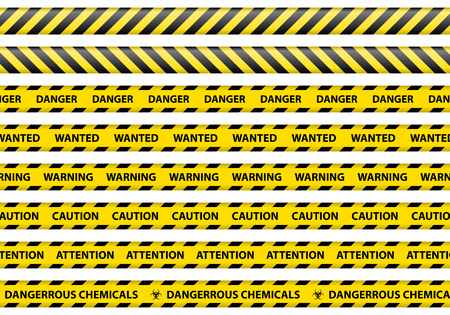 Illustration for Caution and danger ribbon sign white background vector illustration - Royalty Free Image