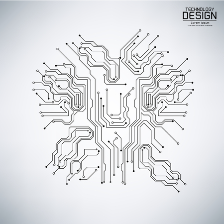 Illustration pour abstract technology vector with a circuit board black, on the gray background illustration - image libre de droit