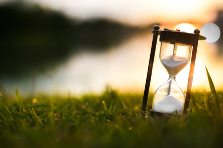 Hourglass in dawn time