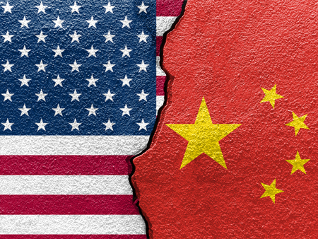 Photo pour U.S.A. and China's flags on cracked wall (Concept of international conflict) - image libre de droit