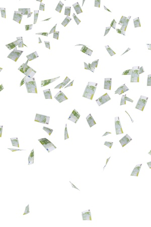 Money rain of 100 euro banknotes