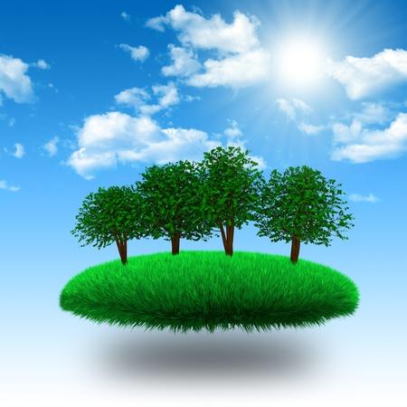 Photo pour Floating grassy island with tree under sunshine. 3d rendering - image libre de droit