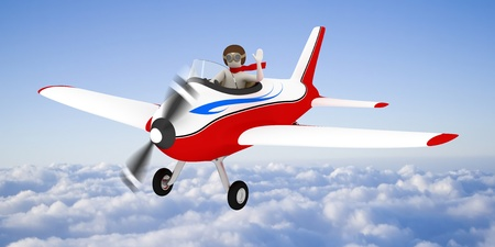 3d white man flying with plane high in the sky, over the clouds