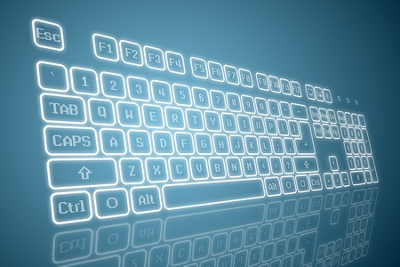Virtual keyboard in perspective view, glowing keys and reflection on blue background