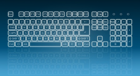 Touch screen virtual keyboard, glowing keys and reflection on blue background