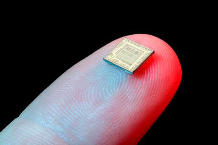 Silicon micro chip on human finger's tip
