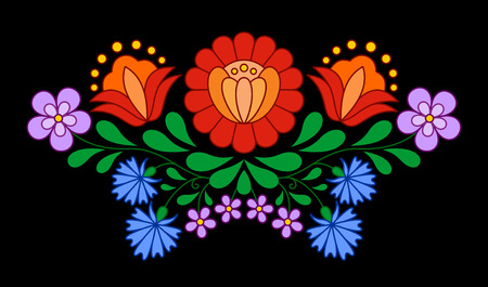 Traditional Hungarian folk embroidery pattern isolated on black
