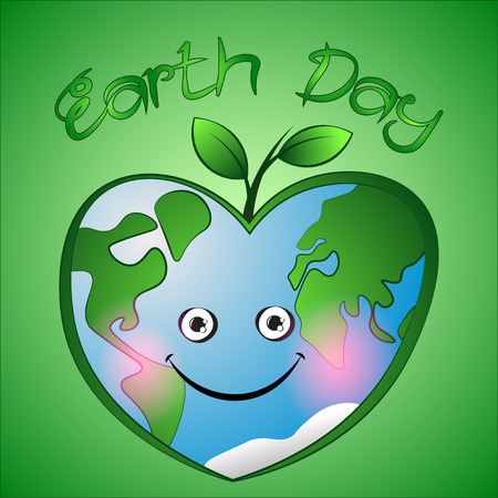 Cute cartoon hearts earth with leafs on green background.