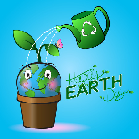 Cute smiling Earth cartoon on a pot with watering and blue background. Happy Earth Day.