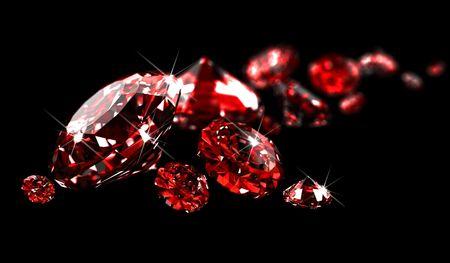 Rubies on black surface