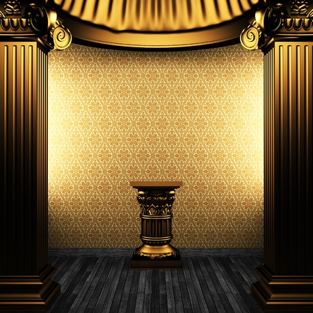 bronze columns, pedestal and wallpaper made in 3D