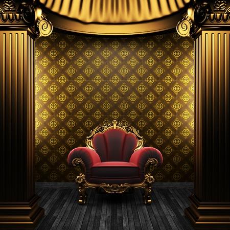Photo pour bronze columns, chair and tile wall  - image libre de droit
