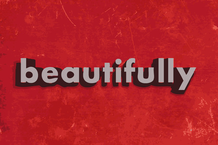 beautifully vector word on red concrete wall