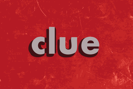 clue vector word on red concrete wall