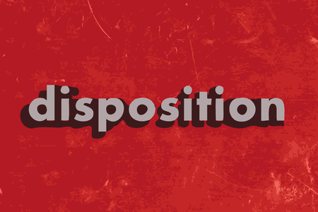 disposition vector word on red concrete wall