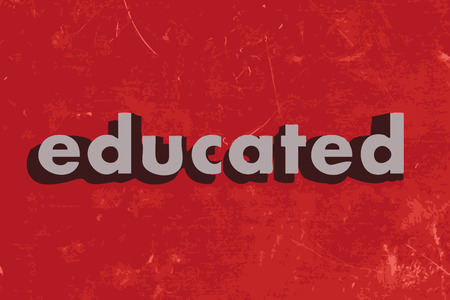 educated vector word on red concrete wall