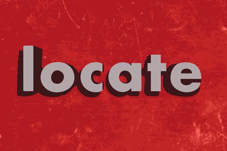 Illustration pour locate word on red concrete wall - image libre de droit
