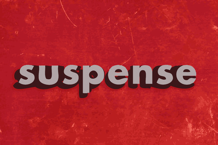 suspense vector word on red concrete wall