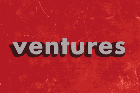 ventures vector word on red concrete wall