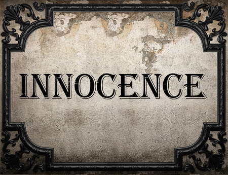 Photo for innocence word on concrette wall - Royalty Free Image