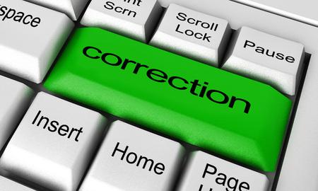 Photo pour correction word on keyboard button - image libre de droit