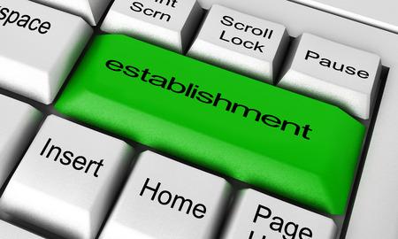establishment word on keyboard button