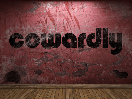 cowardly word on red wall