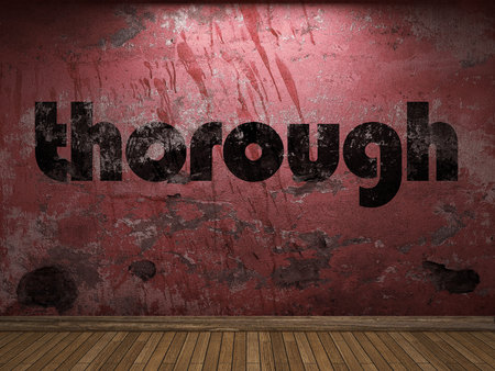 thorough word on red wall