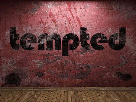 tempted word on red wall