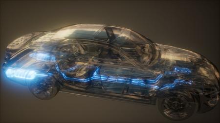 Photo pour car exhaust system visible in transparent car - image libre de droit
