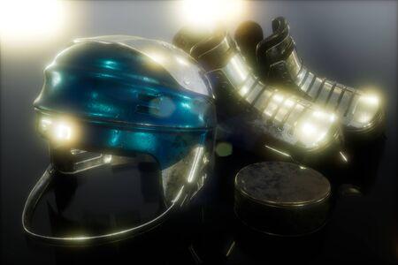 Photo pour hockey equipment in the dark - image libre de droit