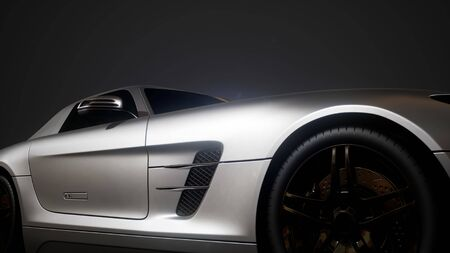 Photo pour luxury sport car in dark studio with bright lights - image libre de droit