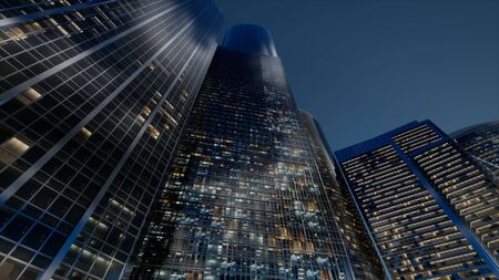 Photo pour cty skyscrapers at night with dark sky - image libre de droit