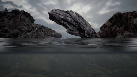 Foto de Half underwater in northern sea with rocks - Imagen libre de derechos