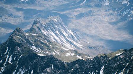 Photo pour Aerial View Landscape of Mountais with Snow covered - image libre de droit