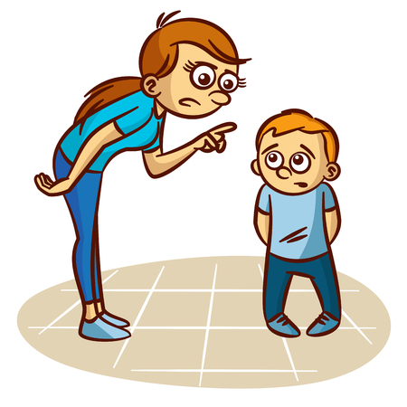 Illustration for Mother scolds the child Clipart - Royalty Free Image