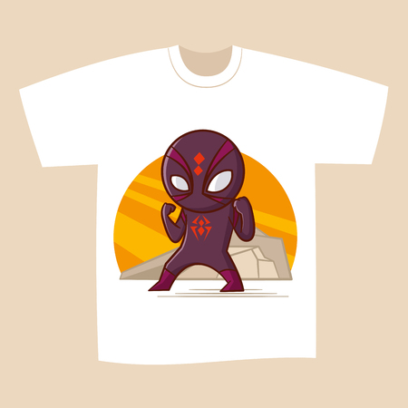 d812ff3d T-shirt White Print Design Superhero Spider Vector Illustration ...