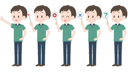 Illustration for Illustration of a man holding a pointer etc. - Royalty Free Image