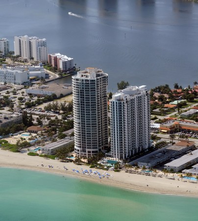 Expensive waterfront condominiums in Miami beach, Florida