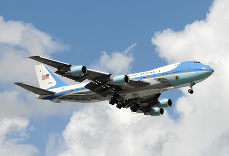 Miami, Florida - October 10, 2008: Air Force One presidential airplane landing at Miami International. The US president is on a fundraising visit to Miami