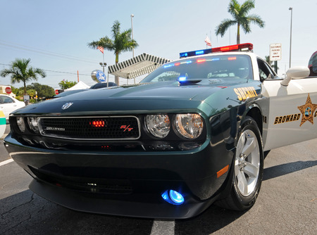 Photo for Fort Lauderdale, USA - October 2, 2010: Broward County Sheriff Department Dodge Challenger interceptor car. The police departmen uses these vehicles to fight crime in South Florida - Royalty Free Image
