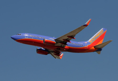 Fort Lauderdale, USA - January 29, 2011: Southwest Airlines passenger jet taking off from Fort Lauderdale Hollywood International Airport. Southwest has a uniform fleet of Boeing 737 jet aircraft