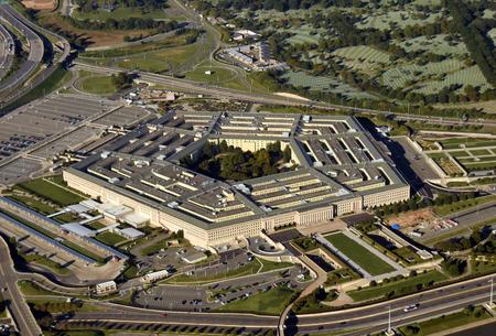 Photo pour US Pentagon in Washington DC building looking down aerial view from above - image libre de droit