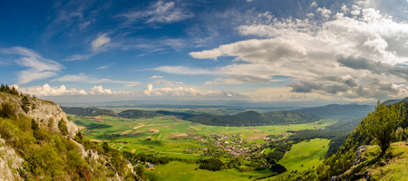 Panoramic view from Hohe Wand Nature Park in Lower Austria. Tourist destination.