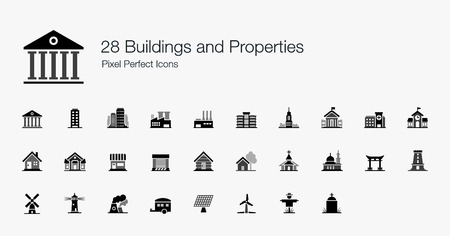 28 Buildings and Properties Pixel Perfect Icons