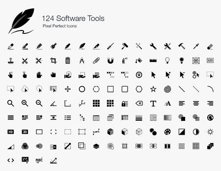 Illustration pour 124 Software Tools Pixel Perfect Icons - image libre de droit