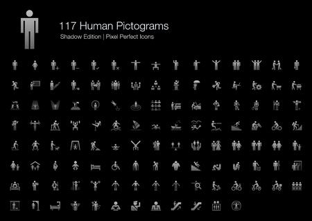 Ilustración de Human Pictogram Pixel Perfect Icons Shadow Edition - Imagen libre de derechos