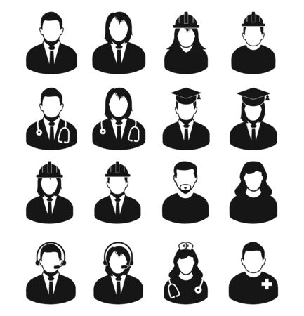 Illustration for People profile icon set of different profession. Corporate man, Graduate Student, Customer Service,  Doctor, Nurse, Engineer etc. - Royalty Free Image