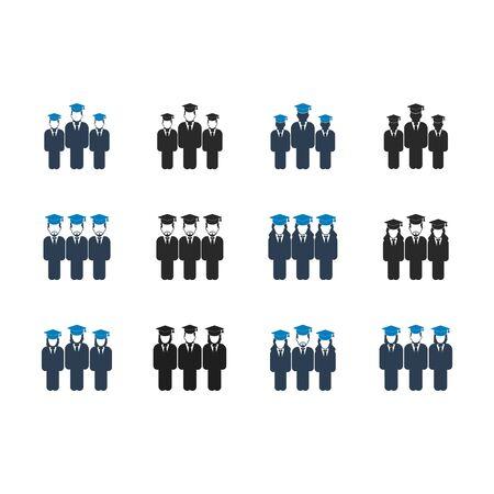 Illustration pour Graduate Students Team Icon set. Flat style vector EPS. - image libre de droit