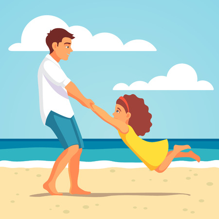 Illustration pour Father playing with his child daughter on the beach. Spinning her holding hands. Vector flat style isolated cartoon illustration. - image libre de droit
